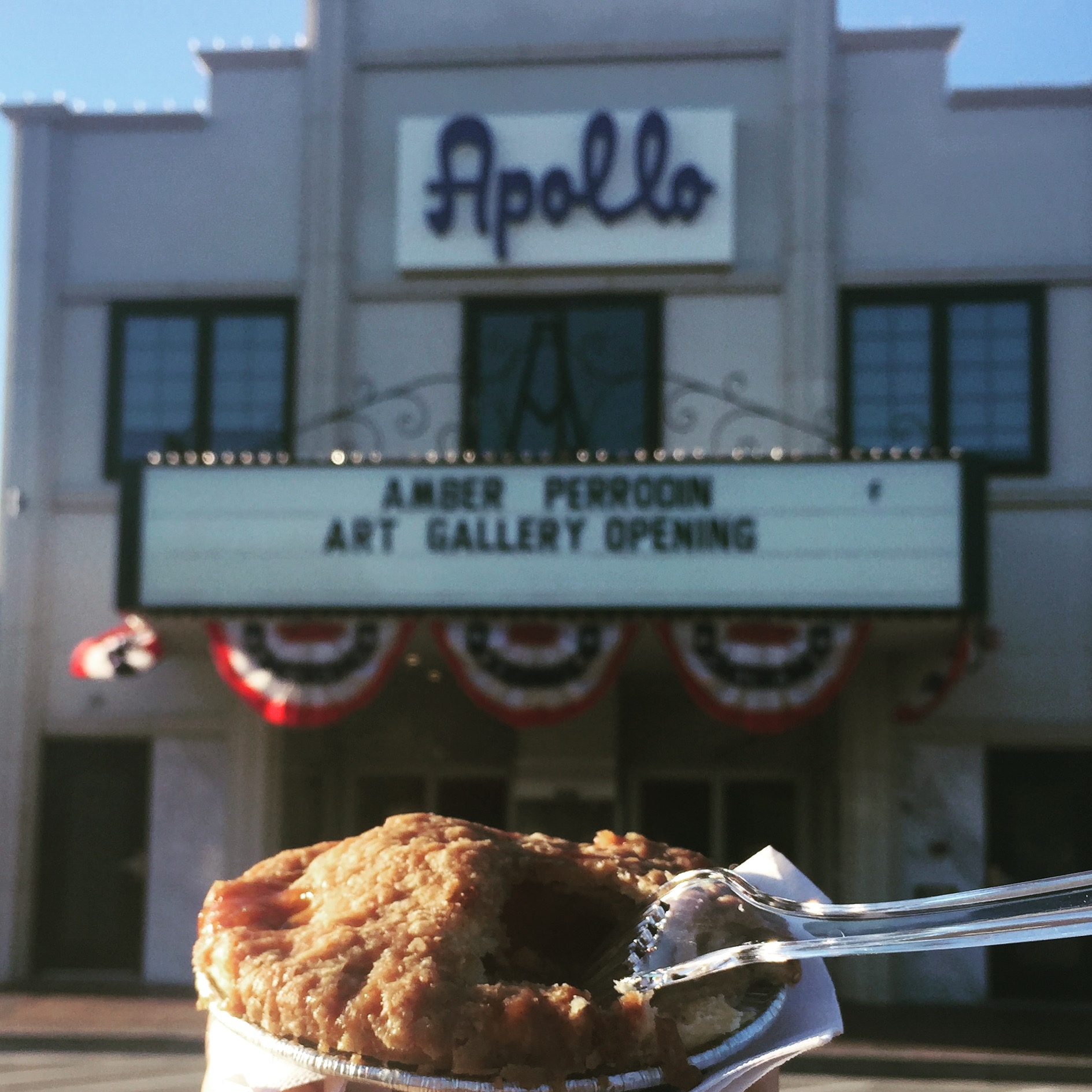 Image of a marquee at the Apollo in downtown Springdale, AR